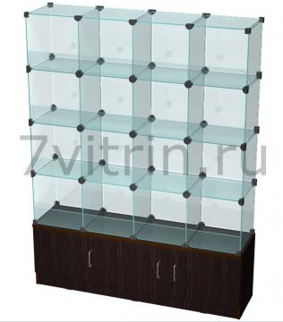Витрина стеклянный куб на тумбе