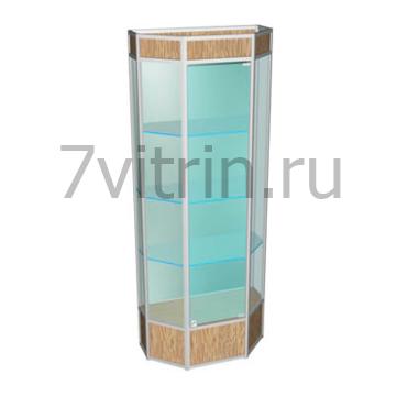 Стеклянная витрина для кубков Алмаз 3 шестиугольная.
