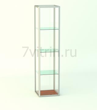 Витрина из алюминиевого профиля Стаканчик прямоугольная без фриза и подиума