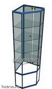 Алюминиевая витрина серии Алмаз угловой без фриза