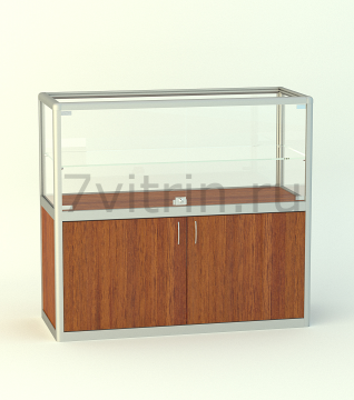 Алюминиевая музейная витрина горизонтальная прямая Бирюза 500