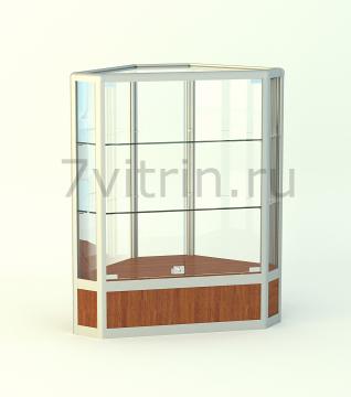 Алюминиевая музейная витрина горизонтальная угловая Алмаз 200