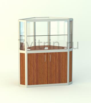 Алюминиевая музейная витрина горизонтальная угловая Алмаз 500