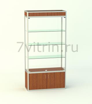 Алюминиевая музейная витрина вертикальная Малахит 500 с фризом