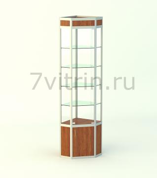 Алюминиевая музейная витрина вертикальная Алмаз 4
