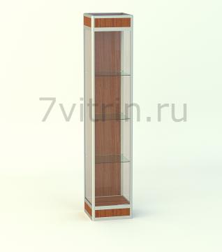 Алюминиевая музейная витрина вертикальная Малахит 4 -200 с фризом