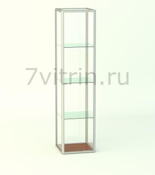 Алюминиевая музейная витрина вертикальная Малахит 4-0 без фриза