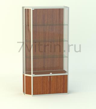 Алюминиевая музейная витрина вертикальная Малахит 500 без фриза