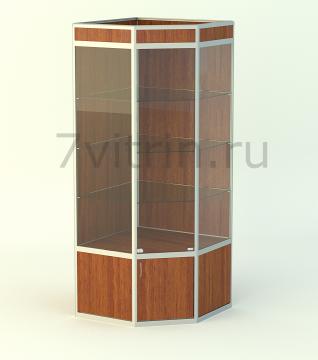 Алюминиевая музейная витрина вертикальная Алмаз 5-500 с фризом