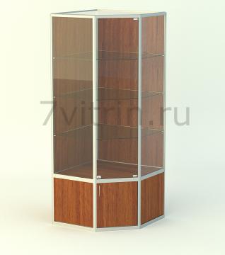 Алюминиевая музейная витрина вертикальная Алмаз 5-500 без фриза