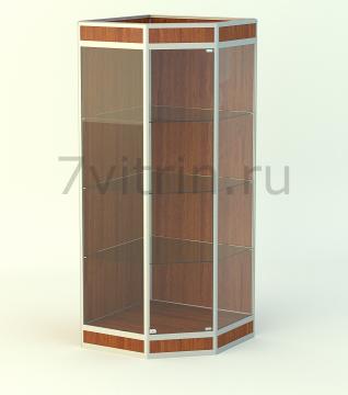 Алюминиевая музейная витрина вертикальная Изумруд-200 с фризом