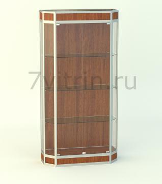 Алюминиевая музейная витрина вертикальная Алмаз 3-200 с фризом