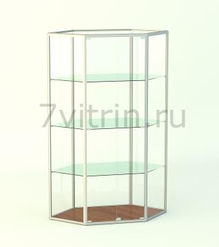 Алюминиевая музейная витрина вертикальная Изумруд-0 без фриза