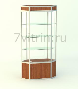 Алюминиевая музейная витрина вертикальная Изумруд-500 с фризом