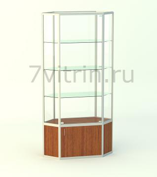 Алюминиевая музейная витрина вертикальная Изумруд-500 без фриза