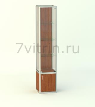 Алюминиевая музейная витрина вертикальная Малахит 4 -500 без фриза