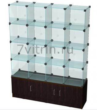 Стеклянная куб витрина для продажи конфет на тумбе