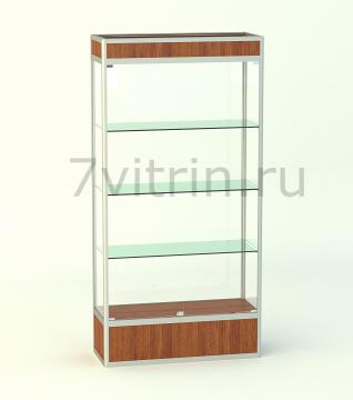 Алюминиевая музейная витрина вертикальная Малахит 300 с фризом