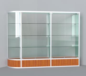 витрина для кубков 2500 мм с левым радиусом