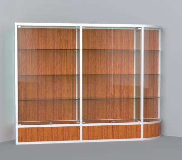 витрина для кубков 2500 мм с правым радиусом
