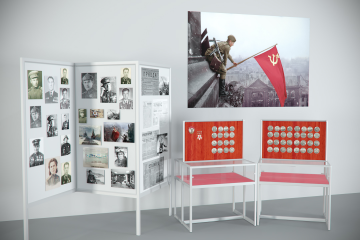 Комплект музейных витрин Фронтовой путь