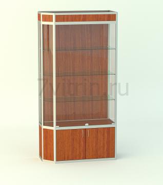 Алюминиевая музейная витрина вертикальная Агат 500 с фризом