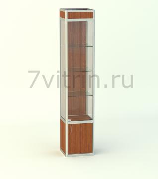 Алюминиевая музейная витрина вертикальная Малахит 4 -500 с фризом