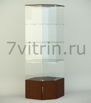 Стеклянная угловая витрина серии СТ 8