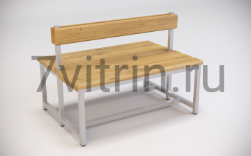 Двухсторонняя скамейка для раздевалок со спинкой