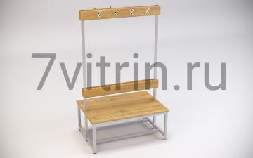 Двусторонняя скамейка для раздевалки со спинкой и крючками для одежды