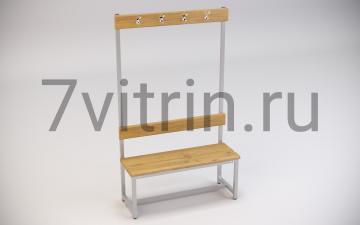 Скамейка для раздевалок со спинкой и крючками для одежды