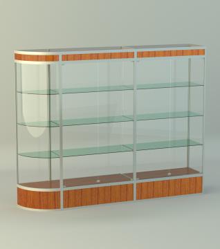 Витрина для кубков 3-х секц. с 1 радиусн. закругл.