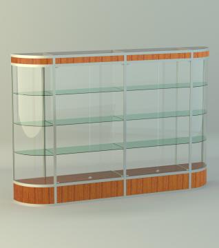 Витрина для кубков 4-х секц. с 2-мя радиусн. закруглениями